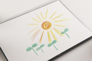 双葉と太陽の絵のイラスト素材 [FYI04210226]