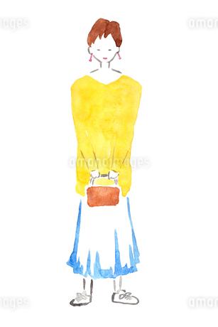 バッグを持つ女性のイラスト素材 [FYI04214162]