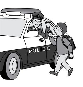 パトカーと子供のイラスト素材 [FYI04218213]
