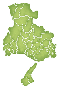 兵庫県の境界線入り地図のイラスト素材 [FYI04218424]
