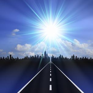 道と太陽のイラスト素材 [FYI04233755]