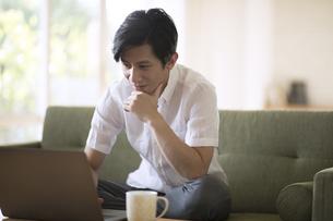 ソファーでノートパソコンを操作する男性の写真素材 [FYI04238685]