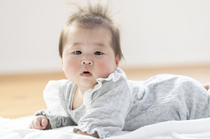 明るい部屋の中でうつ伏せの乳児の写真素材 [FYI04243087]