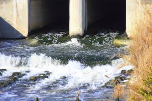 川に流される工場の廃水の写真素材 [FYI04245682]