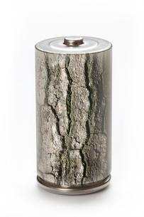 エコ電池と樹皮の環境イメージの写真素材 [FYI04252723]
