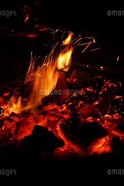 キャンプファイヤーの炎の写真素材 [FYI04254669]