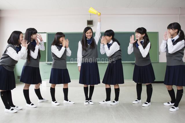 メガホンを持つ女子生徒の写真素材 [FYI04257976]