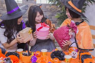 ハロウィンパーティーをする女性たちの写真素材 [FYI04260492]