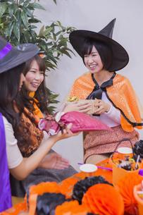 ハロウィンパーティーをする女性たちの写真素材 [FYI04260499]