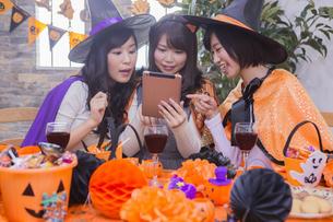 ハロウィンパーティーをする女性たちの写真素材 [FYI04260552]