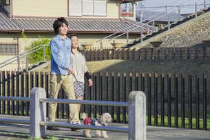 公園で散歩するカップルの写真素材 [FYI04263145]