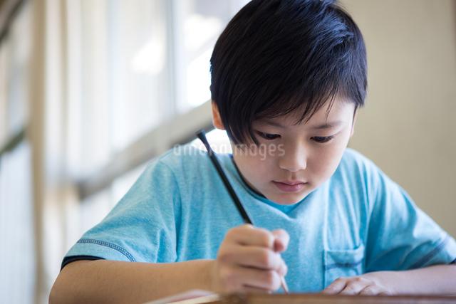 教室で勉強する男の子の写真素材 [FYI04263749]