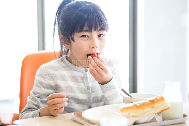 給食を食べる小学生の写真素材 [FYI04264050]