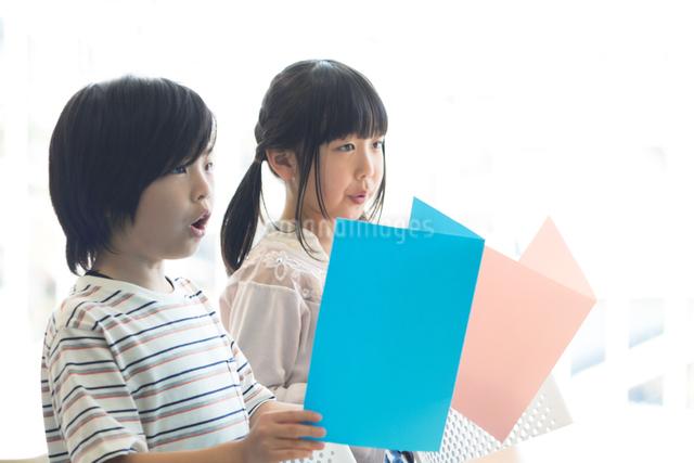 音楽の授業を受ける小学生の写真素材 [FYI04264149]