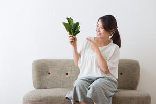 ほうれん草を持つ妊婦さんの写真素材 [FYI04264858]