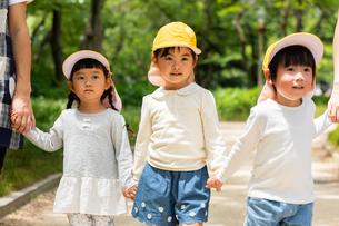 公園を散歩する保育士と園児の写真素材 [FYI04267697]
