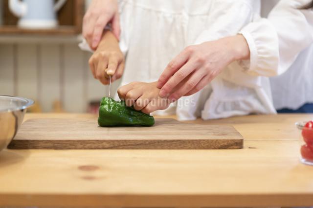調理する母娘の手元の写真素材 [FYI04268079]