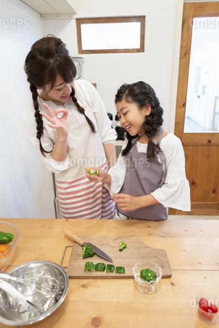 調理をする母娘の写真素材 [FYI04268086]