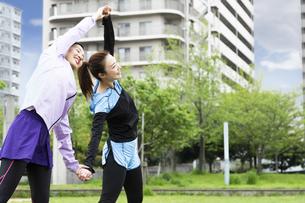 準備運動する女性の写真素材 [FYI04269578]