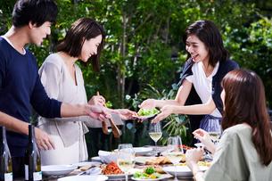 食事や飲み物をサーブする夫婦の写真素材 [FYI04269687]