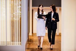 廊下で立ちながら打ち合わせをするビジネスウーマンの写真素材 [FYI04269768]
