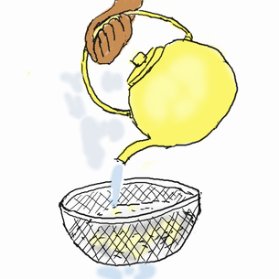 クッパを作る  冷やご飯のぬめりをとるのイラスト素材 [FYI04273825]