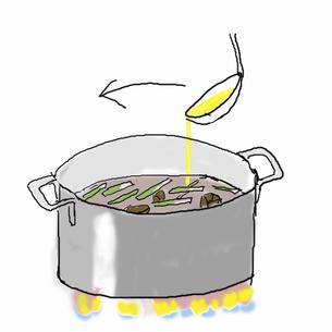 クッパを作る  でき上がったら卵をまわしかけるのイラスト素材 [FYI04273829]