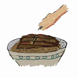 イワシの蒲焼き丼を作る-3  完成したら刻みショウガを散らすのイラスト素材 [FYI04273836]