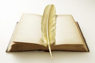 金の羽とアンティークの本の写真素材 [FYI04274292]