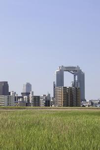 淀川河川敷からみる大阪の写真素材 [FYI04274419]