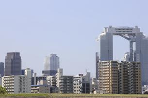 淀川河川敷からみる大阪の写真素材 [FYI04274426]