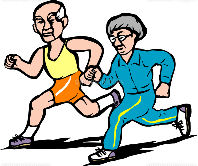 老夫婦ジョギングのイラスト素材 [FYI04274671]