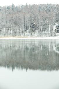 春雪の三本木沼の写真素材 [FYI04283354]