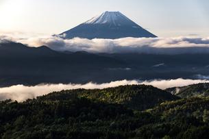 櫛形山から望む早朝の富士山の写真素材 [FYI04283394]