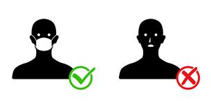マスクと人物アイコン 感染予防のイラスト素材 [FYI04284263]