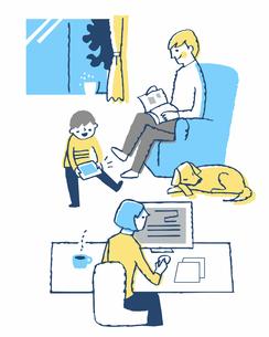 リビングでくつろぐ3人家族のイラスト素材 [FYI04284945]