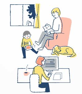 リビングでくつろぐ3人家族のイラスト素材 [FYI04284949]