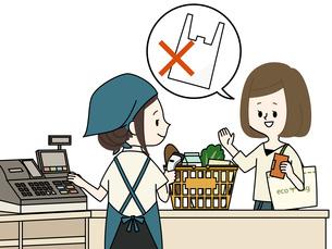 スーパーでレジ袋を断る女性のイラスト素材 [FYI04285249]