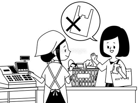スーパーでレジ袋を断る女性-白黒のイラスト素材 [FYI04285267]