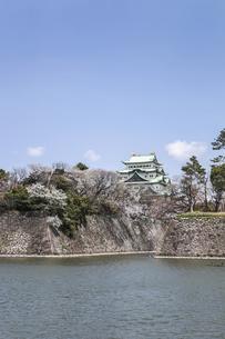 堀と石垣と天守を見る春の名古屋城風景の写真素材 [FYI04285418]
