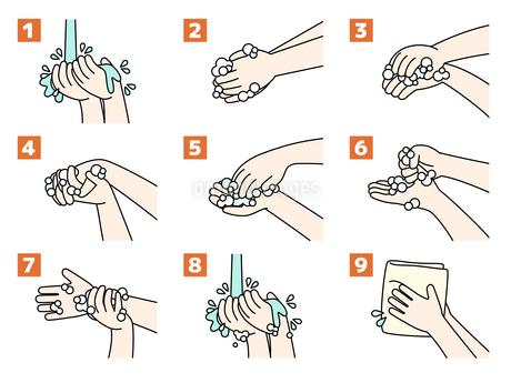 手洗いの手順・方法のイラスト素材 [FYI04285552]