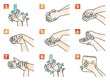 手洗いの手順・方法-水彩のイラスト素材 [FYI04285553]