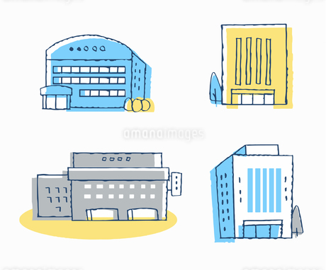 公共施設 オフィスビル 建物 4セットのイラスト素材 [FYI04286375]