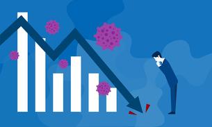 コロナウイルスとグラフ、経済停滞のイメージのイラスト素材 [FYI04286394]