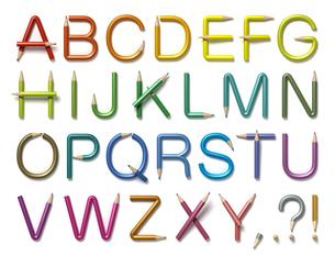 鉛筆で出来たアルファベットのイラスト素材 [FYI04286511]
