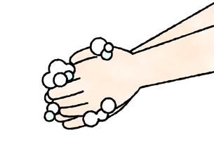 手洗い-石鹸-水彩のイラスト素材 [FYI04286655]