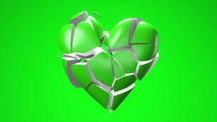 Green broken heart objects in green background. Heart shape object shattered into pieces.のイラスト素材 [FYI04286720]