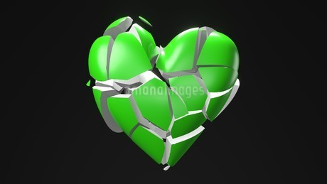 Green broken heart objects in black background. Heart shape object shattered into pieces.のイラスト素材 [FYI04286721]