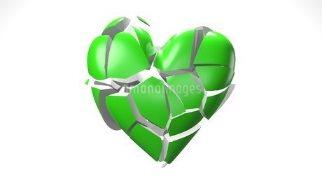 Green broken heart objects in white background. Heart shape object shattered into pieces.のイラスト素材 [FYI04286722]