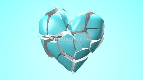 Pale blue broken heart objects in pale blue background. Heart shape object shattered into pieces.のイラスト素材 [FYI04286723]